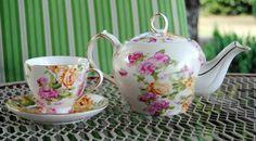 lovely flowered teapot, teacup & saucer