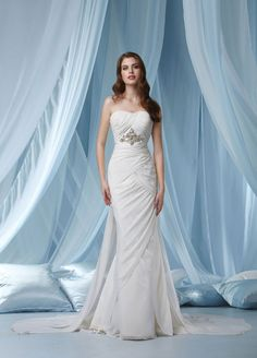 Strapless sheath / column chiffon bridal gown,cheap wedding dress,cheap wedding dress,cheap wedding dress
