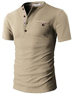 H2H Mens Casual Slim Fit Henley Short Sleeve Cool Shirts With Waffle Patterned -- Visit the image link more details.