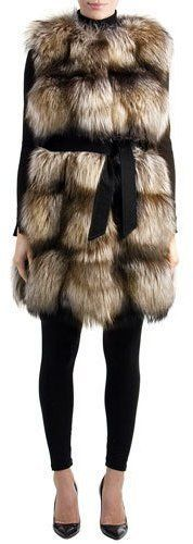 Belted Fox-Fur Long Vest with Suede Inserts