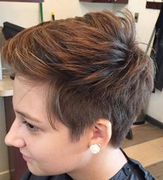 Brown Layered Pixie With Side Undercut