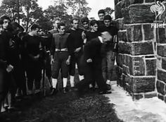 The Birth Of The American Football Helmet  The Invention of the American Football Helmet. This very funny clip shows a man testing his American Football helmet invention - he thinks it will prevent fatalaties and injuries. He gets some men to kick him in the head and whack him on the head with a baseball bat before he runs head first in to a wall. Filmed in 1932.