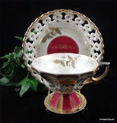 1930s Rare Eb Foley China Pink Gold Gilt Tea Cup & Saucer Set ...
