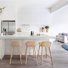 Instagram photo by interiorsme - I'm dreaming of a white kitchen. The gorgeous stools and distinctive accessories add interest to this white on white kitchen. #styling #stools #cleanlines #whitekitchen #whiteonwhite #design #interiordesign #interiors #interiordesign #designer image credit @muutodesign