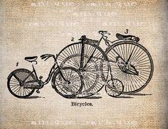Antique Bicycle Trio Bike Illustration Digital Download for Papercrafts, Transfer, Pillows, etc. Burlap No 1487. $1.00, via Etsy.