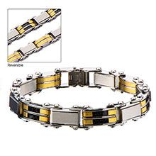 """Men's Stainless Steel Black IP and Gold IP Reversible Bracelet. """"INOX Catalog Spring 2015 page 7 inch long with Self-Adjustable Link. Stainless Steel Jewelry, 316l Stainless Steel, Metal Jewelry, Unique Jewelry, Alternative Metal, Bangles, Bracelets, Black Gold, Jewelry Design"""