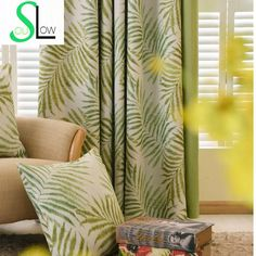 Modern Curtains For Living Room Green Leaves Printed Silk-like Fabric Drapes Blackout Curtains Rideau Cortinas Free Shipping 52