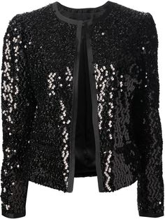 Black silk blend sequin jacket from Dolce & Gabbana featuring a round neck, a hook & eye fastening, long sleeves and front pockets. stretch silk with poly sequins . Black Sequin Jacket, Sequin Blazer, Plus Size Gala Dress, Hijab Fashion, Fashion Dresses, Look Blazer, Blazer Jacket, Iranian Women Fashion, Hijab Stile