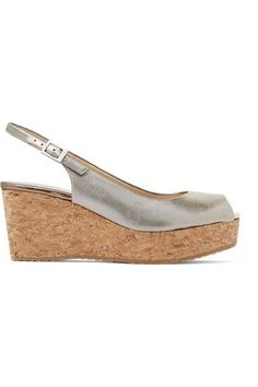 Wedge heel measures approximately 70mm/ 3 inches with a 30mm/ 1 inch platform Antique-gold lamé  Buckle-fastening slingback strapSmall to size. See Size & Fit notes.