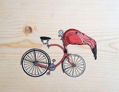 Pink Flamingo Bike - Acrylic Painting - Handmade Pine Wood Canvas - Animal Painting - Bike Painting - Bohemian Boho Decor - Wood Wall Hang by LexieGraceRaphael on Etsy