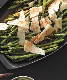 Grilled asparagus with manchego. Okay, so manchego can be expensive, but whatever. Worth it. I'd also recommend smoked paprika. Grilled Vegetable Recipes, Grilled Vegetables, Grilling Recipes, Veggies, Grilling Tips, Real Simple Recipes, Great Recipes, Favorite Recipes, Healthy Cooking
