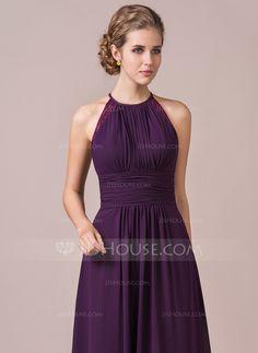 A-Line/Princess Halter Floor-Length Chiffon Bridesmaid Dress With Ruffle Lace (007054347)