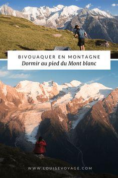 Itinétaire de randonnée pour dormir en bivouac face au Mont-Blanc à Chamonix en été. #alpes #savoiemontblanc #chamonix #montagne #bivouac #camping #randonnée #rando #france #tourisme #outdoor Road Trip, Chamonix, Blog Voyage, Camping, Travel, Alps, Mountain, Morning Dew, Travel Photography