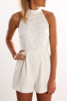 All Talk Lace Playsuit Ivory