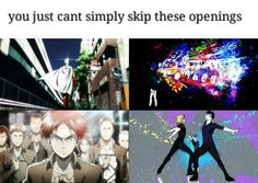 One punch man, Tokyo ghoul, attack on titan, and yuri on ice