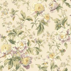 York Wallcoverings Waverly Classics Forever Yours Wallpaper, Foggy Gray/Dusty Lilac/Wisteria/Cream/Amber/Butter/Gray/Sage/Hunter Green Flower Wallpaper, Of Wallpaper, Pattern Wallpaper, Wallpaper Ideas, Home Depot Wallpaper, Stripped Wallpaper, Classic Wallpaper, Embossed Wallpaper, Forever Yours