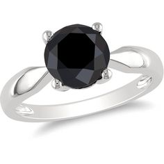 Ice Black Diamond 10k White Gold Ring ($1,310) ❤ liked on Polyvore featuring jewelry, rings, accessories, women's accessories, black diamond jewelry, ice ring, white gold jewelry, round cut rings and ice jewellery