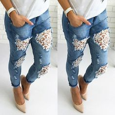 New Women Destroyed Ripped Distressed Slim Denim Pants Boyfriend Lace Jeans Trousers