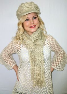 Crochet Scarf,Knitted Scarf and Hat,Cream Knitted Scarf & Hat,Chunky Scarf,Fashion Neckwarmer,Women's Accessory,Womens Gift