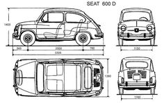 Seat 600 - External dimensions of the 600 - Seat 600 - Exotic Cars Fiat 600, Mini Cooper S, Mini Cooper Classic, Windshield Washer, Fiat Abarth, Car Drawings, Car Sketch, Motorcycle Bike, Motor Car