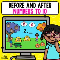Before and after numbers to 10 game where kids find the answer in the picture! So fun for kids learning on the computer or at home! Number Sense Activities, Graphing Activities, Math Activities For Kids, Number Games, Activity Games, Fun Math, Early Learning, Kids Learning, Math Centers