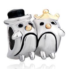 Pugster Penguin Couple Heart Love Beads Fits Pandora Charm Bracelet: Jewelry: Amazon.com