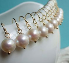 Bridesmaid gifts, SIX pairs pearl earrings, Round freshwater pearl earrings, gold fill, Bridesmaid jewelry sets