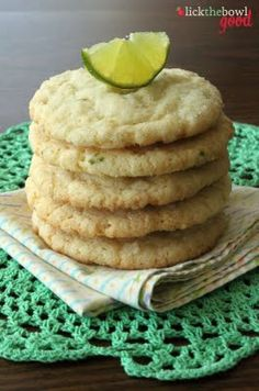 "coconut lime sugar cookies (another pinner said: ""---these were fabulous!  I loved them and so did everyone else that tried them.  Perfect chewy texture inside with a crisp outside.  I would've liked a little more lime.  I think next time I'll put some lime zest in the sugar that you roll them in to intensify the flavor.  I highly recommend them though."")"