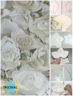 1. Draw a flower petal large enough to cover the entire sheet. Cut 6 petals of the same size. Draw 5 smaller petals about half the size of the larger petals.Split the bottom petal like in the photo. 2. Lay the petals out to resemble a flower. This is how you will attach the pieces. 3. Apply glue to one side of the split and attach it by overlapping the other flap. Your petal should look semi-cone like. 4. Glue the bottom of the petals together. Keep the large petals on the bottom layer.