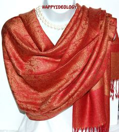 Red Pashmina Scarf.Red and Beige Gold by HappyIdeology on Etsy