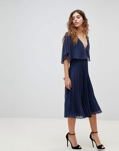 ASOS | ASOS DESIGN Midi Dress With Pleat Skirt And Flutter Sleeve
