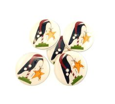 5 Christmas Crow and Star Buttons. 3/4 or 20 mm. by buttonsbyrobin, $9.99