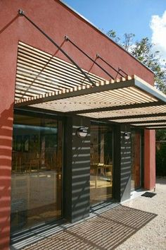 Pergola Attached To House Design Exterior, Facade Design, Pergola With Roof, Pergola Kits, Pergola Ideas, Metal Awning, Solar Shades, Pergola Designs, Cladding