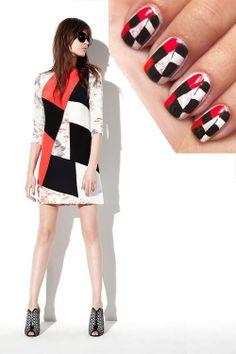 Inspírate y diseña un #NailArt imitando el estampado de tu vestido favorito.