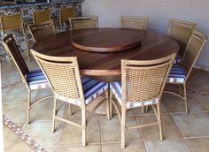 Stof Lar Decorações - Móveis em Madeira de Demolição: Mesa Redonda Bace modelo (cesto de junco) 1,80 com...