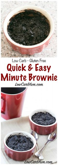 A delicious one minute chocolate brownie mug cake that bakes up in your microwave. Enjoy this simple low carb gluten free brownie recipe for a quick snack.