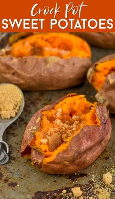 Pot Sweet Potatoes - These Crock Pot Sweet Potatoes are the easiest way to make baked sweet potatoes in the crock pot. G -Crock Pot Sweet Potatoes - These Crock Pot Sweet Potatoes are the easiest way to make baked sweet potatoes in the crock pot. Crock Pot Sweet Potatoes, Cooking Sweet Potatoes, Roasted Sweet Potatoes, Baked Potatoes In Crockpot, Cook Potatoes, Slow Cooker Potatoes, Crock Pot Slow Cooker, Crock Pot Cooking, Cooking Recipes