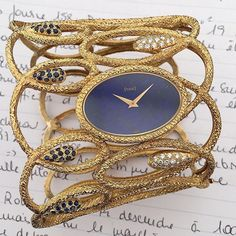 PIAGET-An extremely rare  yellow gold ,lapis lazuli,sapphires and diamonds jewelry cuff watch-1971-