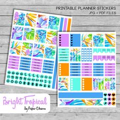 Bright Tropical Flowers Printable Planner by PaperCharmShop