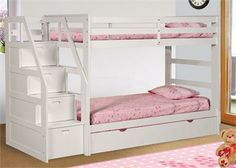 Logan Twin White Bunk Bed with Stairs and Trundle