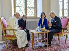 King Carl Gustav and Queen Silvia of Sweden met with Pope Francis on October 31, 2016 at the Royal palace in Lund, Sweden. Pope Francis kicks off a two-day visit to Sweden to mark the 500th anniversary of the Reformation -- a highly symbolic trip, given that Martin Luther's dissenting movement launched centuries of bitter and often bloody divisions in Europe