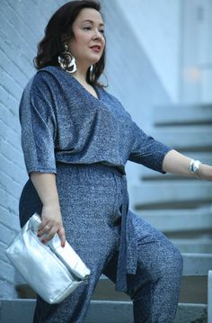 Styling a blue Ellos glitter jumpsuit with silver accessories for the holidays featuring a Topshop paper bag style clutch purse. Trendy Dresses, Plus Size Dresses, Plus Size Outfits, Plus Size Romper, Plus Size Jumpsuit, Plus Size Womens Clothing, Plus Size Fashion, Size Clothing, Plus Size Workwear