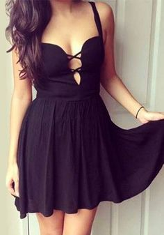 Black Crisscross Cutout - Dress