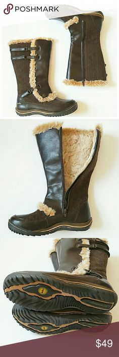 JAMBU Water Resistant Boots - Worn once for a photo shoot - JAMBU - Brown - All Vegan Materials - Size 7.5, 11in shaft height - Faux fur lined, velcro adjustable, water resistant, rubber tread, zipper closure Jambu Shoes Winter & Rain Boots