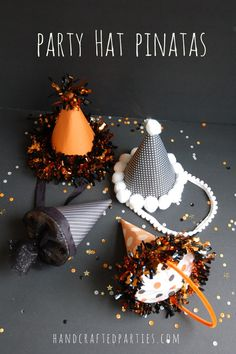 DIY Party Hat Pinatas {Handcrafted Parties by Lisa Frank} Diy Party Hats, Party Favors, Nye Party, Party Time, Holidays Halloween, Halloween Party, Pinata Party, New Years Eve Party, Animal Party