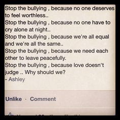 Stop bullying ! Feeling Worthless, Stop Bullying, Bullies, Workplace, Equality, Crying, Peace, Feelings, Social Equality