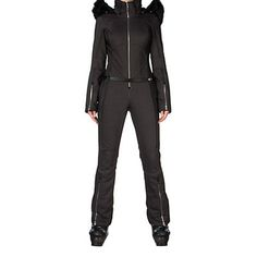 Spyder Eternity Softshell Womens One Piece Ski Suit, Black Denim
