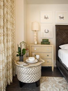 Featured in the #HGTV #SMARTHOME Master Bedroom - Custom Ottoman by #bassettfurniture