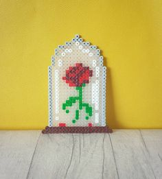 perler beauty and the beast rose