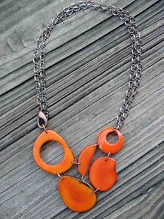Tangerine Orange Adjustable Tagua Nut Necklace